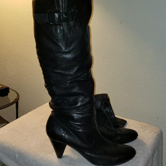 d9470e94a Nine West Shoes | Blk Lthr Tall Boots Plus Size Calves | Poshmark